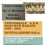 Ventennale delle attività della ASD Dojo Kun Karate – Intitolazione nuova sala di movimento Gabriele Bergonzoni